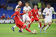 Wales forward Kiefer Moore makes a tackle during the Friendly match between Wales and Belarus at the Cardiff City Stadium, Cardiff, Wales on 9 September 2019.