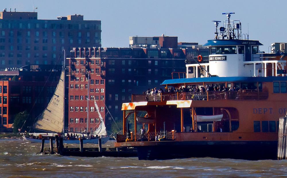 Staten Island Ferry named after JFK, leaving the docks in Manhattan headed for Staten Island.