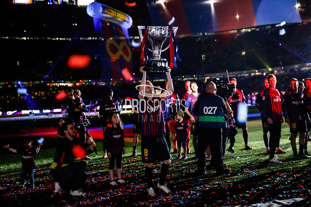 Andres Iniesta from Spain of FC Barcelona with La Liga trophy during the Andres Iniesta farewell at the end of the La Liga football match between FC Barcelona and Real Sociedad on May 20, 2018 at Camp Nou stadium in Barcelona, Spain - Photo Xavier Bonilla / Spain ProSportsImages / DPPI / ProSportsImages / DPPI