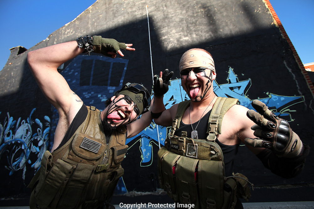 Juggalos Tony DeAngelo and Chris DeAngelo in front of the Main Bar mural.(Jodi Miller/Alive)
