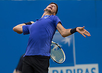 Tennis - 2017 Aegon Championships [Queen's Club Championship] - Day Four, Thursday <br /> <br /> Men's Singles: Round of 16 - Daniil MEDVEDEV (RUS) Vs Thanasi KOKKINAKIS (AUS)<br /> <br /> <br /> Thanasi Kokkinakis (AUS) arches his back to power his serve on centre court at Queens Club<br /> <br /> COLORSPORT/DANIEL BEARHAM