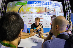 Grega Zemlja (SLO) and media after final round of singles at Tilia Slovenia Open 2015 on August 15, 2015 in Tennis stadium SRC Marina, Portoroz / Portorose, Slovenia. Photo by Urban Urbanc / Sportida