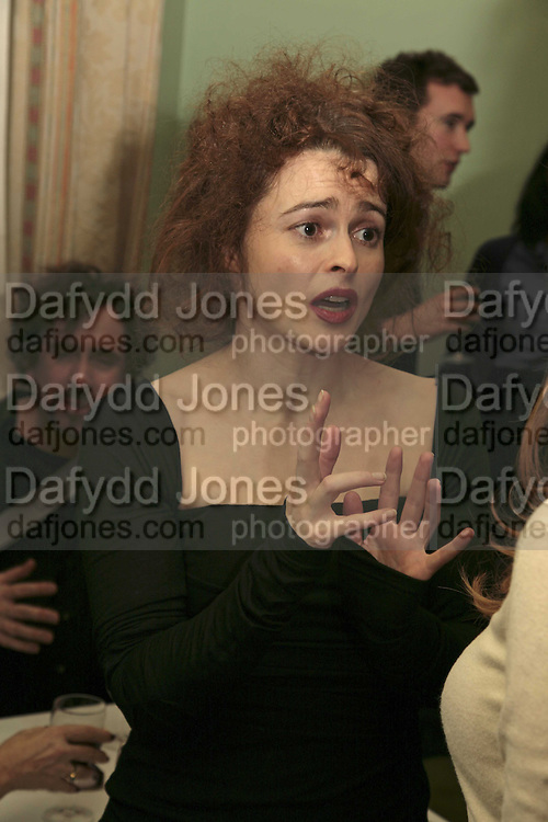 HELENA BONHAM-CARTER, PARTY AT DARTMOUTH HOUSE AFTER A PREMIERE SCREENING OF PERFUME AT THE CURZON. LONDON.<br />