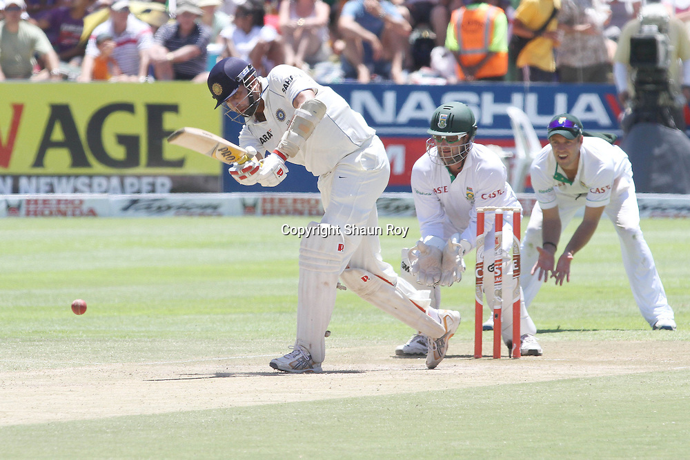 CAPE TOWN, SOUTH AFRICA - 4 January 2011, Rahul Dravid of India of India playes a delivery to the leg side during day 3 of the 3rd Castle Test between South Africa and India held at Sahara Park Newlands Stadium in Cape Town, South Africa on the 4 January 2011 .Photo by: Shaun Roy