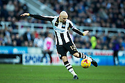 Newcastle United midfielder Jonjo Shelvey (#12) shoots during the EFL Sky Bet Championship match between Newcastle United and Derby County at St. James's Park, Newcastle, England on 4 February 2017. Photo by Craig Doyle.