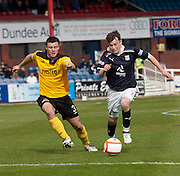 Dundee's Nicky Riley goes past Livingston's Callum Fordyce  - Dundee v Livingston, Irn Bru Scottish Football League First Division at Dens Park..© David Young - 5 Foundry Place - Monifieth - DD5 4BB - Telephone 07765 252616 - email: davidyoungphoto@gmail.com - web: www.davidyoungphoto.co.uk