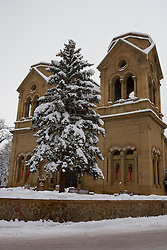 The cathedral in Santa Fe, NM after a large snow fall.<br />