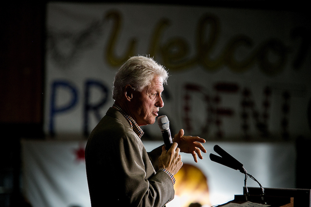 CHULA VISTA, CA - MAY 21, 2016: Former President Bill Clinton campaigns on behalf of his wife, presidential candidate Hillary Clinton, at Bonita Vista High School in Chula Vista, California. CREDIT: Sam Hodgson for The New York Times.
