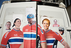 Norwegian national team customise the graphics on the back of their van at Lotto Thuringen Ladies Tour 2018 - Stage 4, a 118 km road race starting and finishing in Gera, Germany on May 31, 2018. Photo by Sean Robinson/Velofocus.com