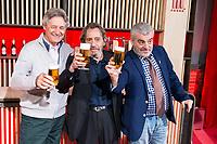 Comedians Martes y Trece, Josema Yuste (L), Fernando Conde (C) and Millan Salcedo (R) during the presentation of the new spot of  Mahou 5 Estrellas at Capitol Cinemas in Madrid. March 29, 2016. (ALTERPHOTOS/Borja B.Hojas)