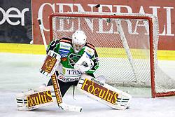 Jean-Philippe Lamoureux (HDD Tilia Olimpija, #1) during ice-hockey match between HDD Tilia Olimpija and SAPA Fehervar AV19 at second match in Quarterfinal  of EBEL league, on Februar 21, 2012 at Hala Tivoli, Ljubljana, Slovenia. HDD Tilia Olimpija won 2:1 in OT. (Photo By Matic Klansek Velej / Sportida)