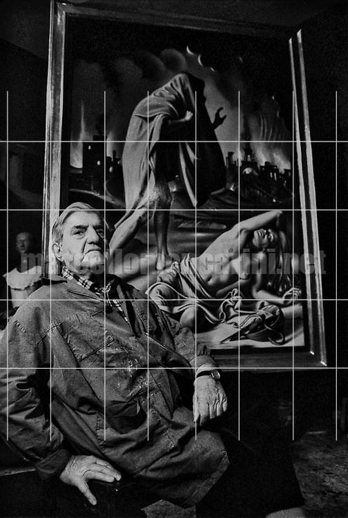 Rome, 1980. Painter Gregorio Sciltian in his studio / Roma, 1980. Il pittore Gregorio Sciltian nel suo studio - © Marcello Mencarini