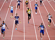 Great Britain, London - 2017 August 12: (C) Usain Bolt of Jamaica pulls up during men's 4x100m relay final during IAAF World Championships London 2017 Day 9 at London Stadium on August 12, 2017 in London, Great Britain.<br /> <br /> Mandatory credit:<br /> Photo by &copy; Adam Nurkiewicz<br /> <br /> Adam Nurkiewicz declares that he has no rights to the image of people at the photographs of his authorship.<br /> <br /> Picture also available in RAW (NEF) or TIFF format on special request.<br /> <br /> Any editorial, commercial or promotional use requires written permission from the author of image.