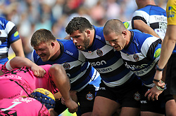 The Bath front row prepare to scrummage - Photo mandatory by-line: Patrick Khachfe/JMP - Mobile: 07966 386802 13/09/2014 - SPORT - RUGBY UNION - Bath - The Recreation Ground - Bath Rugby v London Welsh - Aviva Premiership