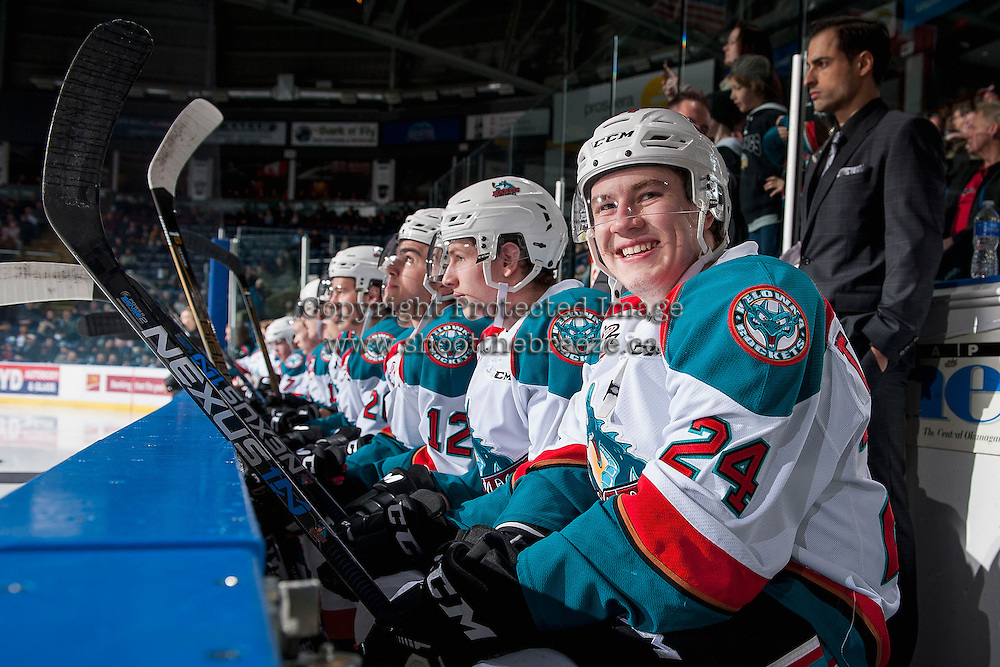 KELOWNA, CANADA - FEBRUARY 1: Kyle Topping #24 of the Kelowna Rockets smiles at the camera while sitting on the bench against the Calgary Hitmen on February 1, 2017 at Prospera Place in Kelowna, British Columbia, Canada.  (Photo by Marissa Baecker/Shoot the Breeze)  *** Local Caption ***