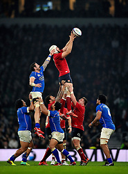 Dave Attwood of England rises high to win lineout ball - Photo mandatory by-line: Patrick Khachfe/JMP - Mobile: 07966 386802 22/11/2014 - SPORT - RUGBY UNION - London - Twickenham Stadium - England v Samoa - QBE Internationals