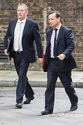 Downing Street, London, September 9th 2016.  International Trade Secretary Liam Fox and Welsh Secretary Alun Cairns arrive at Downing street for the weekly cabinet meeting following the Parliamentary summer recess.