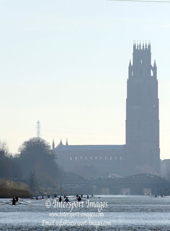 Boston,  GREAT BRITAIN,  View down the course, with Boston Cathedral as the backdrop.  British International Rowing Scheme, Feb 2008 Trials,  raced on the River Witham,  09/02/2008 [Mandatory Credit Peter Spurrier/Intersport Images]. ,Rowing Course: River Witham, Boston, Lincs, Great ENGLAND