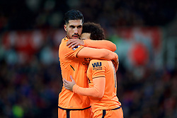 STOKE-ON-TRENT, ENGLAND - Wednesday, November 29, 2017: Liverpool's Mohamed Salah celebrates scoring the second goal with team-mate Emre Can during the FA Premier League match between Stoke City and Liverpool at the  Bet365 Stadium. (Pic by David Rawcliffe/Propaganda)