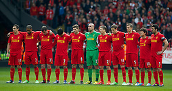 07.04.2013, Anfield, Liverpool, ENG, Premier League, FC Liverpool vs West Ham United, 32. Runde, im Bild Liverpool players line-up for a minute's silence to remember the 96 victims of the Hillsborough Stadium Disaster, before during the English Premier League 32th round match between Liverpool FC and West Ham United FC at Anfield, Liverpool, Great Britain on 2013/04/07. EXPA Pictures © 2013, PhotoCredit: EXPA/ Propagandaphoto/ David Rawcliffe..***** ATTENTION - OUT OF ENG, GBR, UK *****