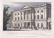 The London Institution, Finsbury Circus, founded in 1805 'for the advancement of literature and the diffusion of useful and polite knowledge'. Building opened 1819.  Plate dedicated to Professor John Millington (1779-1868) who lectured on mechanics there