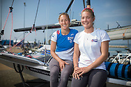 Team GBR Olympic sailing team members Charlotte Dobson and Sophie Ainsworth (right) pictured on day one of the ISAF Sailing World Cup at the Weymouth and Portland National Sailing Academy, Weymouth. The pair sail in the 49erFX class. PRESS ASSOCIATION Photo. Picture date: Wednesday June 8, 2016. See PA story SAILING World Cup. Photo credit should read: Chris Ison/PA Wire.