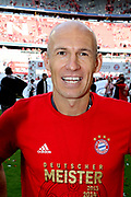 Bayern Munich's Dutch midfielder Arjen Robben  after the German First division Bundesliga football match FC Bayern Munich v Eintracht Frankfurt, <br /> MUNICH, 18. MAY 2019,  Fc BAYERN vs Eintracht FRANKFURT, 5:1 - Bundesliga Football Match, (L to R) Arjen Robben, Rafinha, Franck Ribery ,<br /> FcBayern Muenchen vs Eintracht FRANKFURT Bundesliga match at Allianz Arena on 18.05.2019, DFL REGULATIONS PROHIBIT ANY USE OF PHOTOGRAPHS AS IMAGE SEQUENCES AND/OR QUASI-VIDEO - fee liable image, <br /> copyright &copy; ATP / Arthur THILL