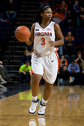 Virginia guard Paulisha Kellum (3) in action against Maryland.  The Virginia Cavaliers women's basketball team fell to the #4 ranked Maryland Terrapins 74-62 at the John Paul Jones Arena in Charlottesville, VA on January 18, 2008.