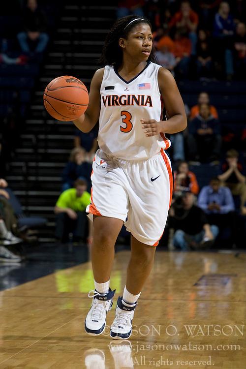 Virginia guard Paulisha Kellum (3) in action against Maryland.  The Virginia Cavaliers women's basketball team fell to the #4 ranked Maryland Terrapins 74-62 at the John Paul Jones Arena in Charlottesville, VA on January 18, 2008.