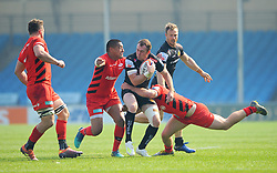 Anthony Maka of Saracens Storm tackles Max Bodilly of Exeter Braves Mandatory by-line: Nizaam Jones/JMP - 22/04/2019 - RUGBY - Sandy Park Stadium - Exeter, England - Exeter Braves v Saracens Storm - Premiership Rugby Shield