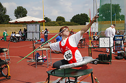 British Open Athletics Championships 2003 games; disabled athlete taking part in a Javelin event,