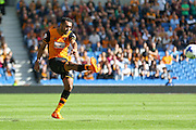Hull City midfielder Ahmed Elmohamady shoots at goal during the Sky Bet Championship match between Brighton and Hove Albion and Hull City at the American Express Community Stadium, Brighton and Hove, England on 12 September 2015. Photo by Phil Duncan.