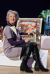 "Bonhams, London, February 29th 2016. Actress Maureen Lipman with the chair she created during a photocall for ""Sitting Pretty"", featuring unique, hand painted and upholstered chairs made by 30 celebrities and artists, at Bonhams ahead of their auction in support of a leading AIDS charity, CHIVA Africa.<br /> ©Paul Davey<br /> FOR LICENCING CONTACT: Paul Davey +44 (0) 7966 016 296 paul@pauldaveycreative.co.uk"