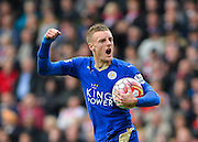 Leicester Citys Jamie Vardy scores during the Barclays Premier League match between Southampton and Leicester City at the St Mary's Stadium, Southampton, England on 17 October 2015. Photo by Adam Rivers.