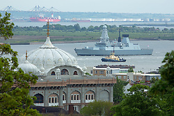 © Licensed to London News Pictures. 20/05/2016. HMS Duncan passes Gravesend. Type 45 Destroyer HMS Duncan has arrived in London for a port visit. The 152 metre long Royal Navy ship is visiting London for the time. She was commissioned in to the Navy in 2013. Credit: Rob Powell/LNP