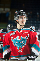 KELOWNA, CANADA - NOVEMBER 8: Tyson Baillie #24 of Kelowna Rockets stands on the ice against the Vancouver Giants on November 8, 2014 at Prospera Place in Kelowna, British Columbia, Canada.   (Photo by Marissa Baecker/Shoot the Breeze)  *** Local Caption *** Tyson Baillie;