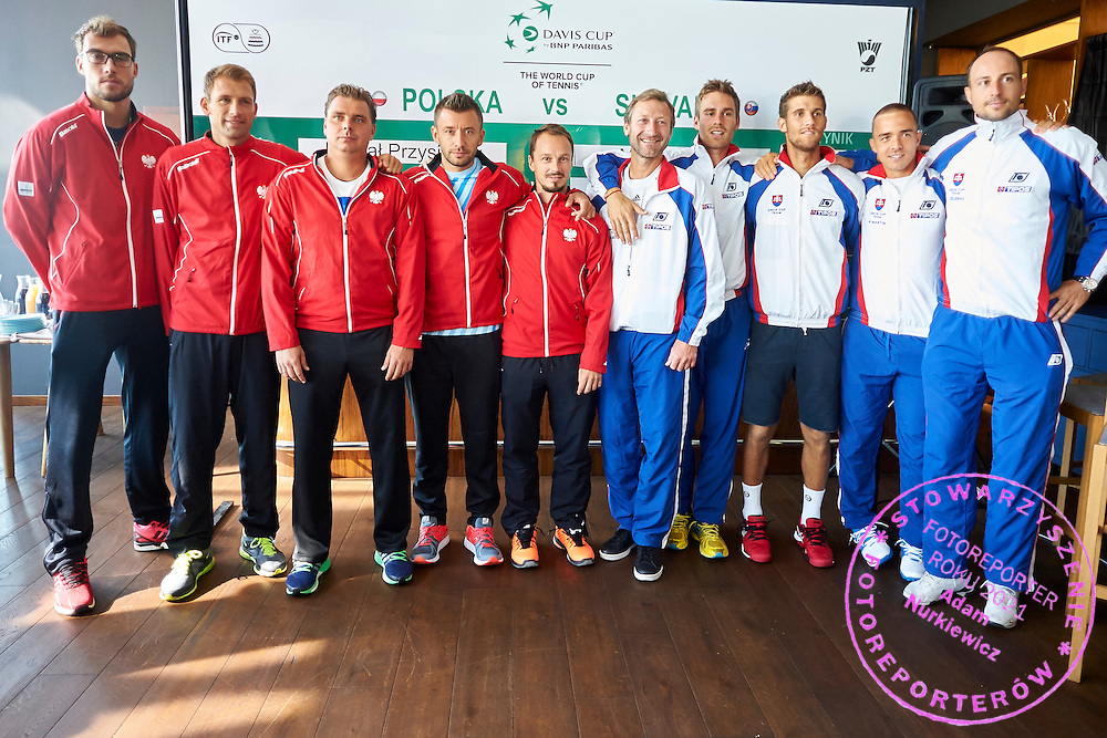 (L-R) Jerzy Janowicz and Lukasz Kubot and Marcin Matkowski and Michal Przysiezny and Radoslaw Szymanik - captain national team all from Poland and Miloslav Mecir - captain national team and Norbert Gombos and Martin Klizan and Andrej Martin and Igor Zelenay all of Slovakia during official draw one day before Davis Cup Tie World Group Play-off Poland v Slovakia at Mondo di Vinegre Restaurant in Gdynia, Poland.<br /> <br /> Poland, Gdynia, September 17, 2015<br /> <br /> Picture also available in RAW (NEF) or TIFF format on special request.<br /> <br /> For editorial use only. Any commercial or promotional use requires permission.<br /> <br /> Adam Nurkiewicz declares that he has no rights to the image of people at the photographs of his authorship.<br /> <br /> Mandatory credit:<br /> Photo by &copy; Adam Nurkiewicz / Mediasport