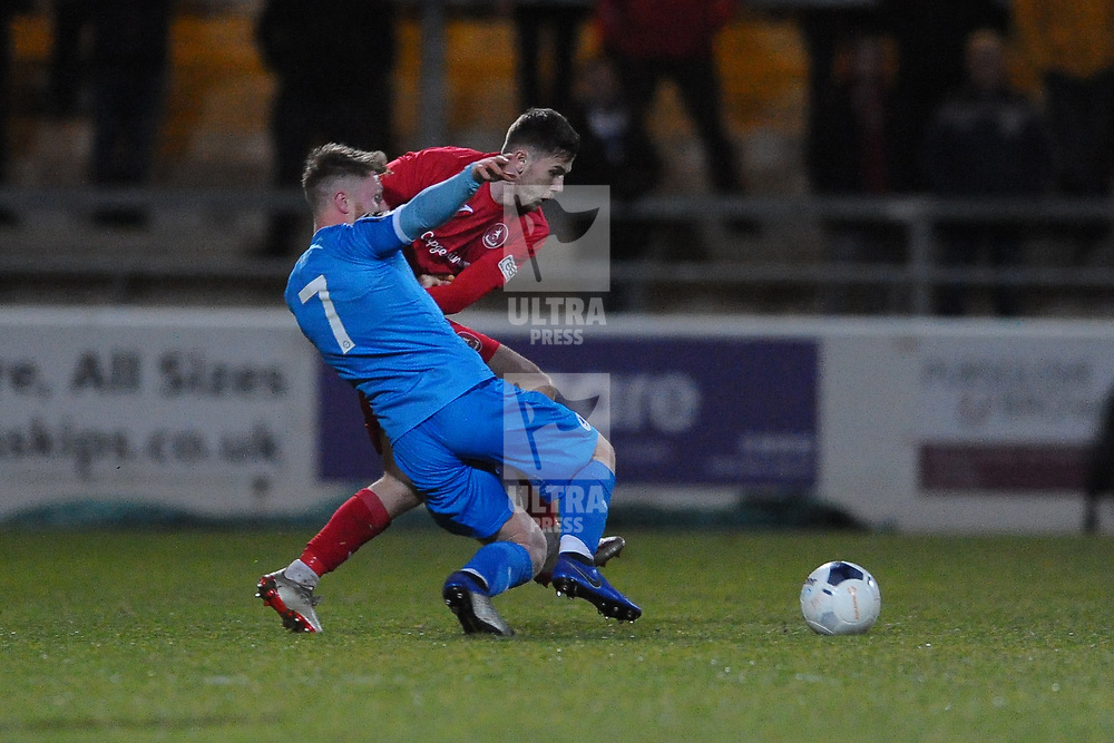 TELFORD COPYRIGHT MIKE SHERIDAN Arlen Birch of Telford tackles Brad Jackson during the Vanarama Conference North fixture between AFC Telford United and Chester at the 1885 Arena Deva Stadium on Saturday, December 21, 2019.<br /> <br /> Picture credit: Mike Sheridan/Ultrapress<br /> <br /> MS201920-035