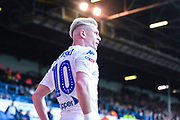 Ezgjan Alioski of Leeds United (10) looks toward the penalty area as he'd about to take a corner during the EFL Sky Bet Championship match between Leeds United and Bolton Wanderers at Elland Road, Leeds, England on 23 February 2019.