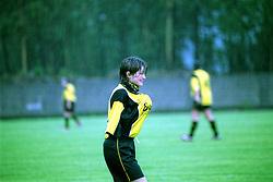 Vigo, Galicia, Spain<br /> A soccer player in the rain during the match.<br /> &copy;Carmen Secanella.