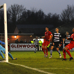 TELFORD COPYRIGHT MIKE SHERIDAN GOAL. Marcus Dinanga of Telford scores to make it 1-2 during the Vanarama Conference North fixture between Darlington and AFC Telford United at Blackwell Meadows on Saturday, November 30, 2019.<br /> <br /> Picture credit: Mike Sheridan/Ultrapress<br /> <br /> MS201920-032