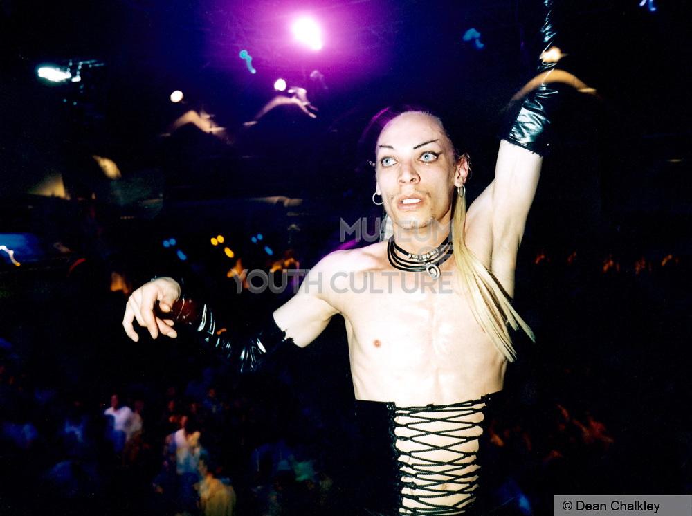 Man wearing a black leather corset, Cream, Ibiza 1999