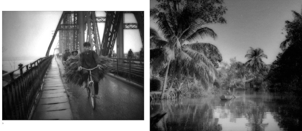 L:  Bicycle rider coming to market in Hanoi on the Long Bien Bridge, Hanoi which was repeatedly bombed by American planes during the until American POW 's were set  to rebuilding it, Vietnam...R:  Child paddles boat in Mekong River Delta near Vinh Long, Vietnam.