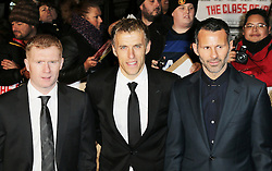 © Licensed to London News Pictures. Former Manchester United footballers Paul Scholes, Phil Neville, Ryan Giggs attend The Class of 92  World Film Premiere at The Odeon West End, Leicester Square, London on 01 December 2013. Photo credit: Richard Goldschmidt/LNP