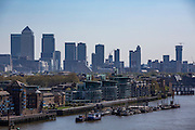 A view down the River Thames towards, Hermitage Community Moorings, Wapping High Street,  Canary Wharf and the Isle of Dogs. London UK. (photo by Andrew Aitchison / In pictures via Getty Images)