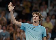 ALEXANDER ZVEREV (GER) bedankt sich beim Publikum nach seinem Sieg,<br /> <br /> Tennis - Australian Open 2018 - Grand Slam / ATP / WTA -  Melbourne  Park - Melbourne - Victoria - Australia  - 18 January 2018.