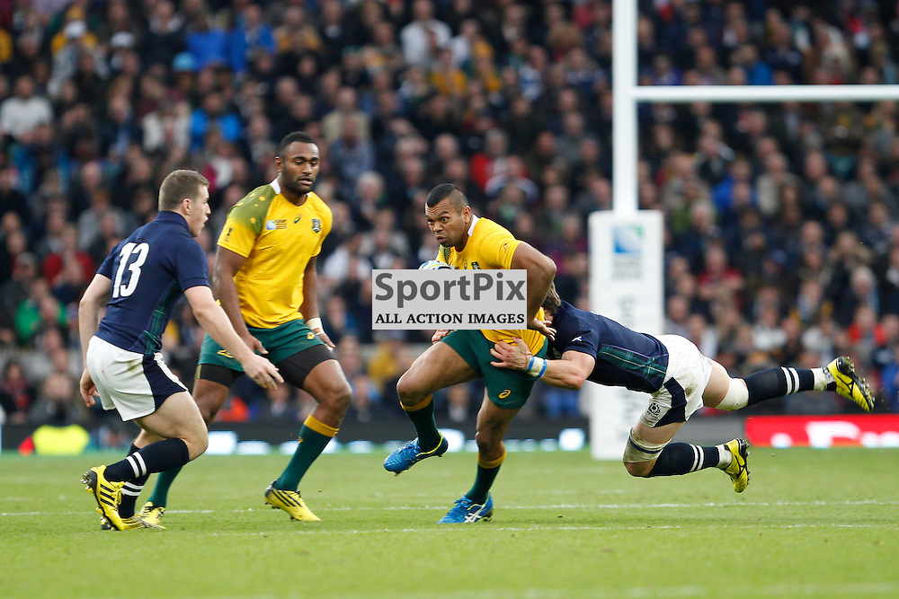 TWICKENHAM, ENGLAND - OCTOBER 18:  Kurtley Beale in action during the 2015 Rugby World Cup quarter final between Scotland and Australia at Twickenham Stadium on October 18, 2015 in London, England. (Credit: SAM TODD | SportPix.org.uk)