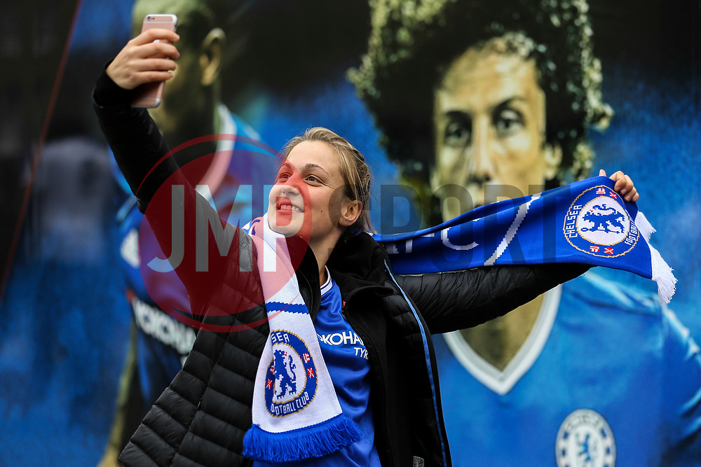 A Chelsea fans takes a selfie in front of the players boards outside Stamford Bridge - Mandatory by-line: Jason Brown/JMP - 08/05/17 - FOOTBALL - Stamford Bridge - London, England - Chelsea v Middlesbrough - Premier League