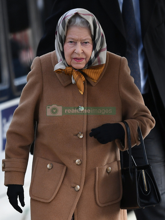 The Queen arrives at Kings Lynn railway station to begin her Christmas holidays on the Sandringham Estate, in King's Lynn, Norfolk, UK, on the 20th December 2018. 20 Dec 2018 Pictured: The Queen arrives at Kings Lynn railway station to begin her Christmas holidays on the Sandringham Estate, in King's Lynn, Norfolk, UK, on the 20th December 2018. Photo credit: James Whatling / MEGA TheMegaAgency.com +1 888 505 6342