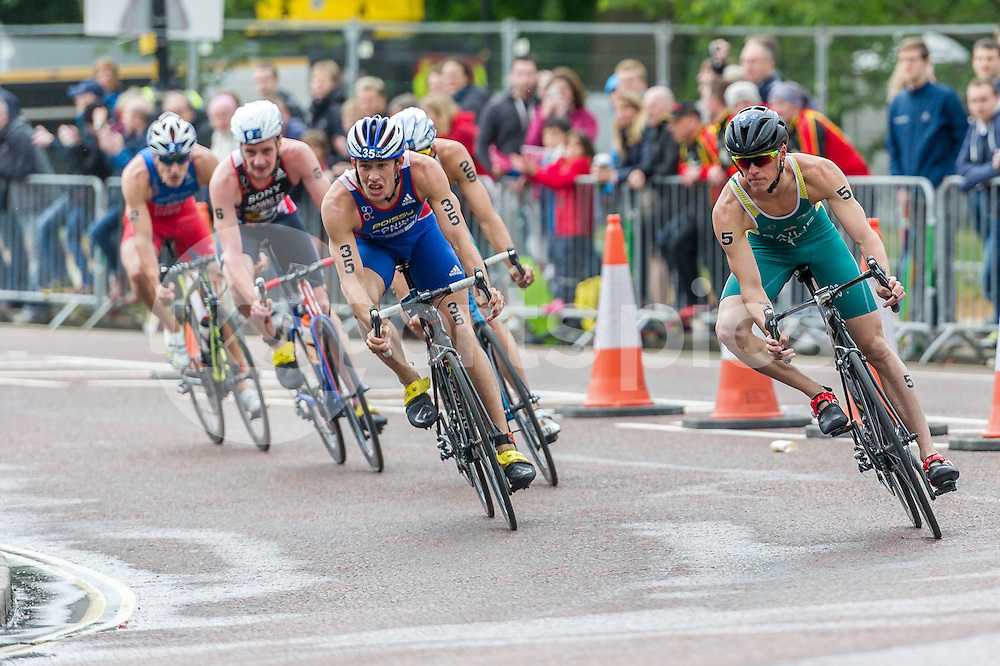 Ryan Bailie (AUS) (right) and Dorian Coninx (FRA) (left) lead the group during The ITU Vitality World Triathlon at London, England on 31 May 2015. Photo by Vince  Mignott.
